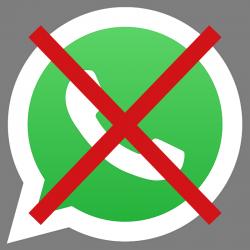 Logo WhatsApp barré par une croix rouge
