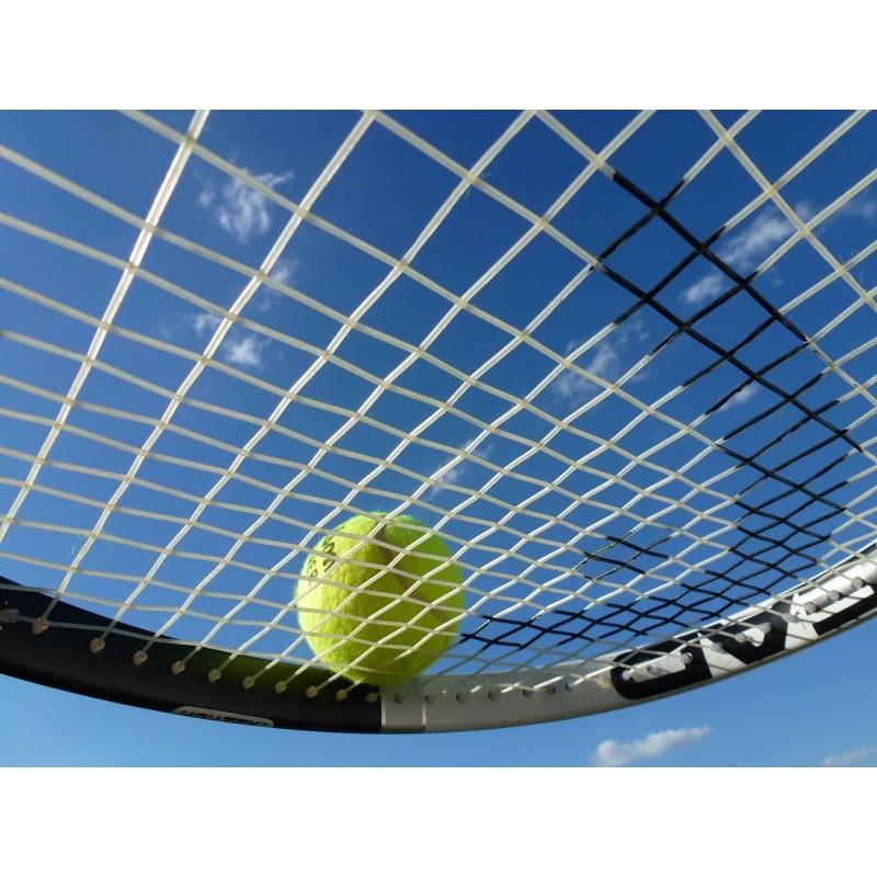Raquette et balle de tennis sous un ciel bleu