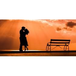 couple qui s\'embrasse au coucher du soleil
