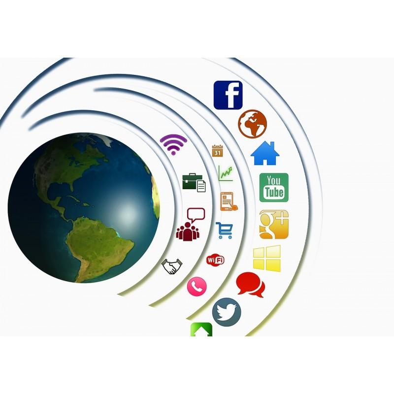 Planète Terre + Icônes Sociaux