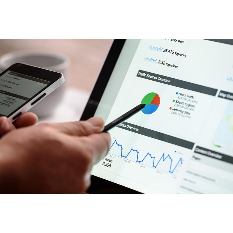 Une main tient un stylo pointant sur un écran de PC montrant un graphique de Google Analytics