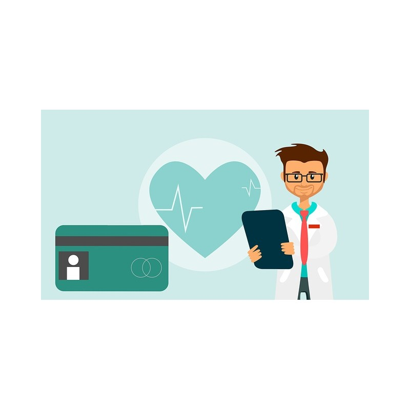 médecin avec coeur et moyen de paiement