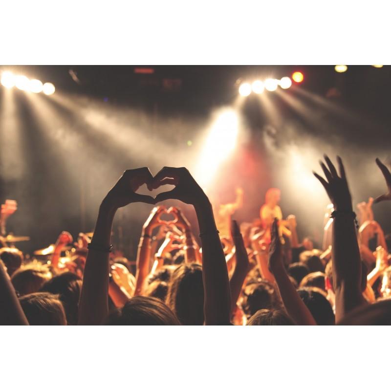 un concert avec des cœurs faits avec les mains