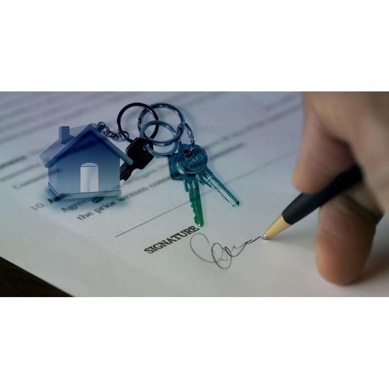 clé, maison, signature