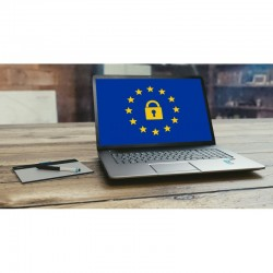 RGPD, ordinateur avec un fond d\\\'écran évoquant le RGPD