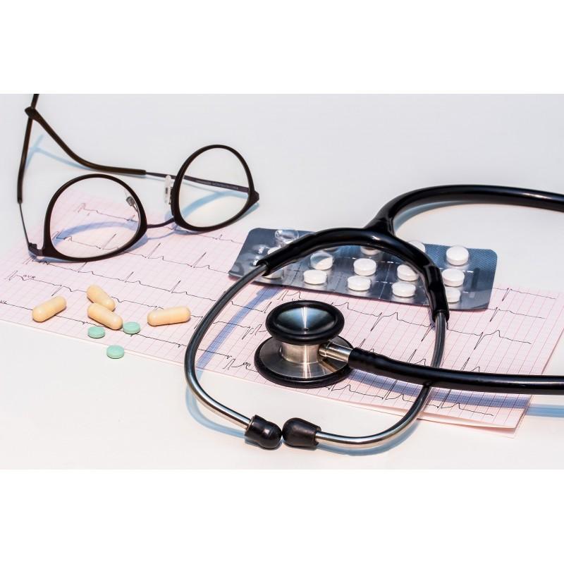 stéthoscope, lunettes de médecin, gélules, cardiogramme, check-up santé