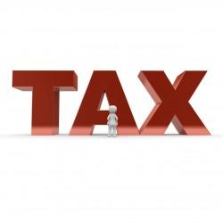 Le mot TAX écrit en lettres rouges