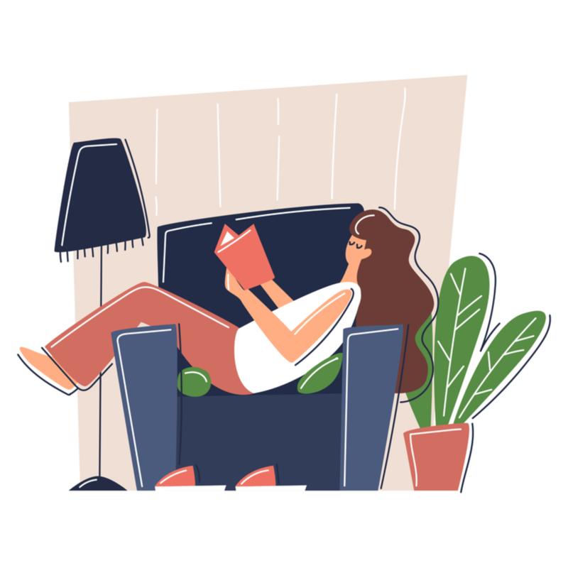 Image vectorielle personnage allongé sur un fauteuil
