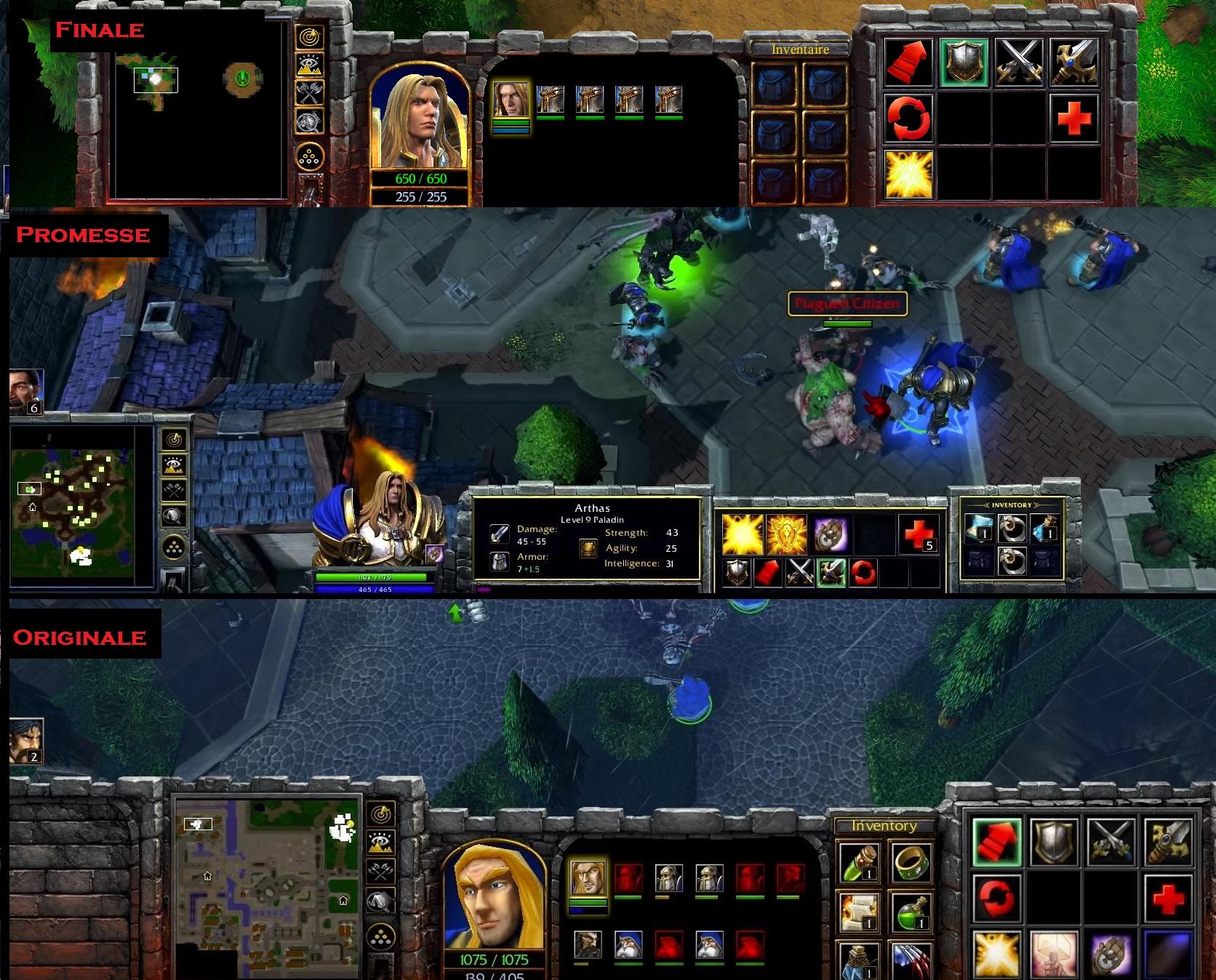 Présentation des trois interfaces pour Warcraft 3 Reforged : l'ancienne, la promesse et la nouvelle